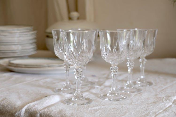 Ensemble de 6 verres à vin français en cristal milieu du siècle