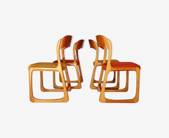 Suite de quatre chaises Baumann vintage scandinave