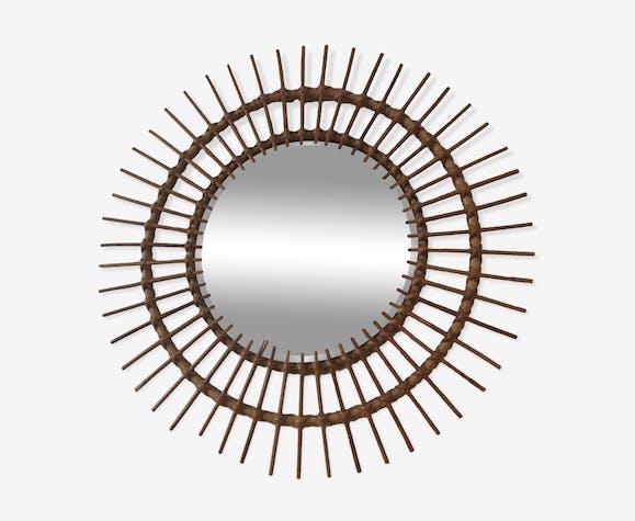Miroir soleil rotin 1965 67cm
