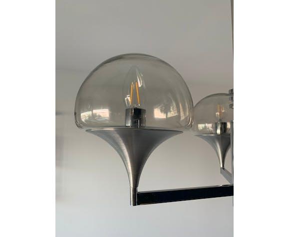 Lustre italien de chez Sciolari 3 globes aluminium brossé et chrome