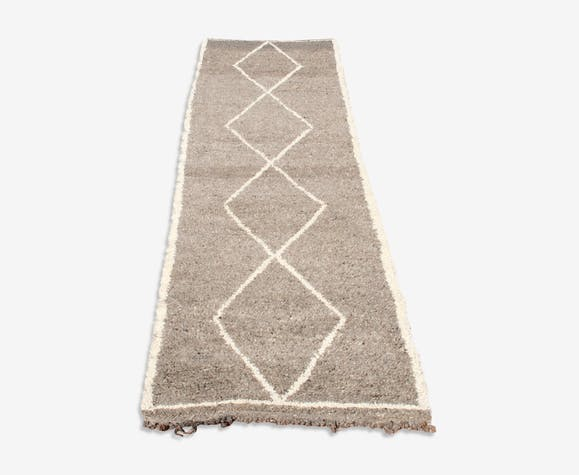 tapis de couloir gris beni ouarain 300x80 cm laine coton gris classique 5wpadbr. Black Bedroom Furniture Sets. Home Design Ideas