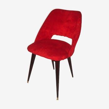 Chaise moumoute rouge empiétement bois de 1965