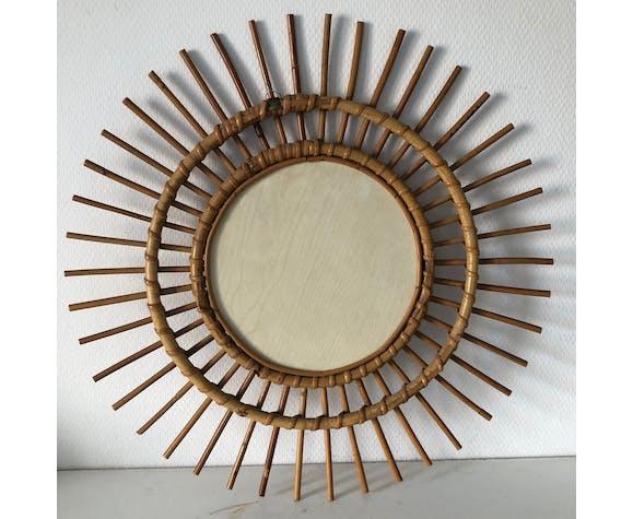 Rattan mirror 56cm vintage 1960