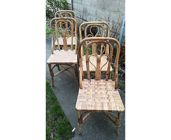 4 chaises rotin vintages