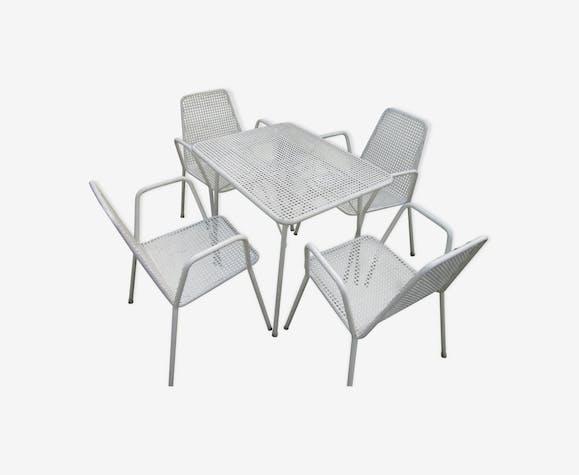 Salon de jardin en métal des années 60-70 - métal - blanc - vintage ...
