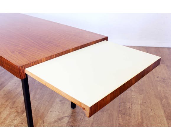 Table basse en teck et métal avec rallonge