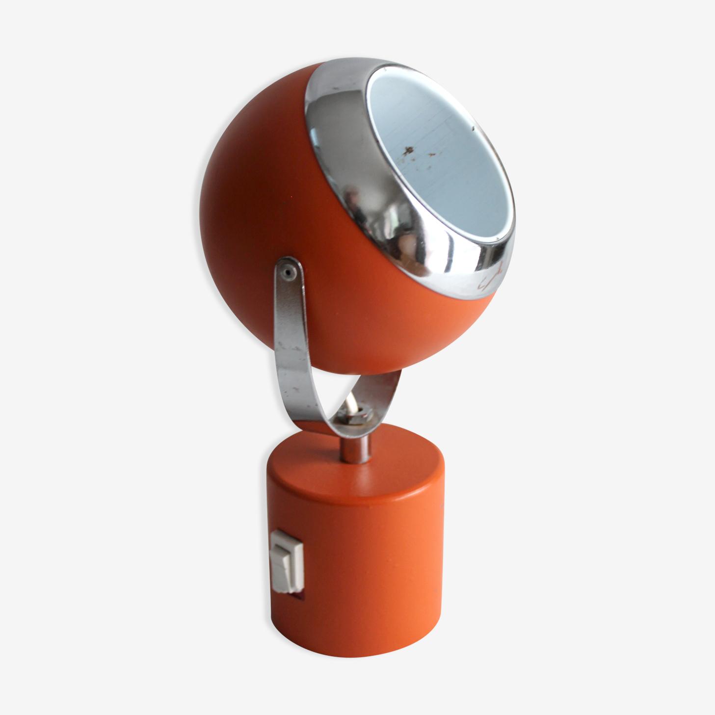 Lampe boule en métal orange 70