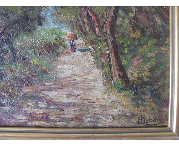 Tableau XIXeme galante en promenade dans un sous bois - Ecole impressionniste