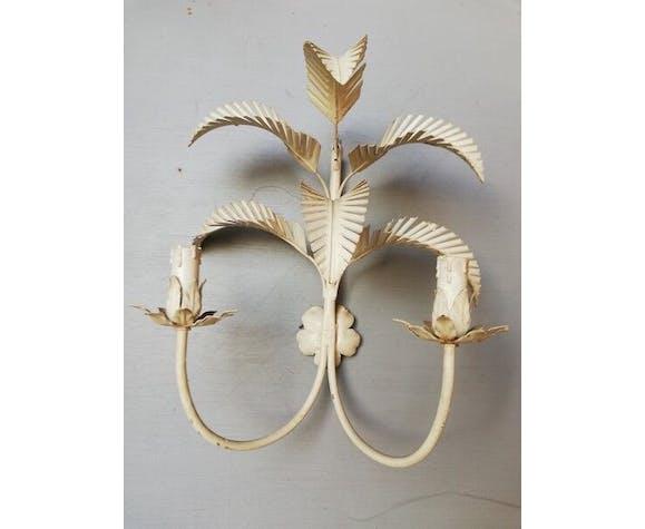 Applique au palmier metal laqué blanc ep 1960