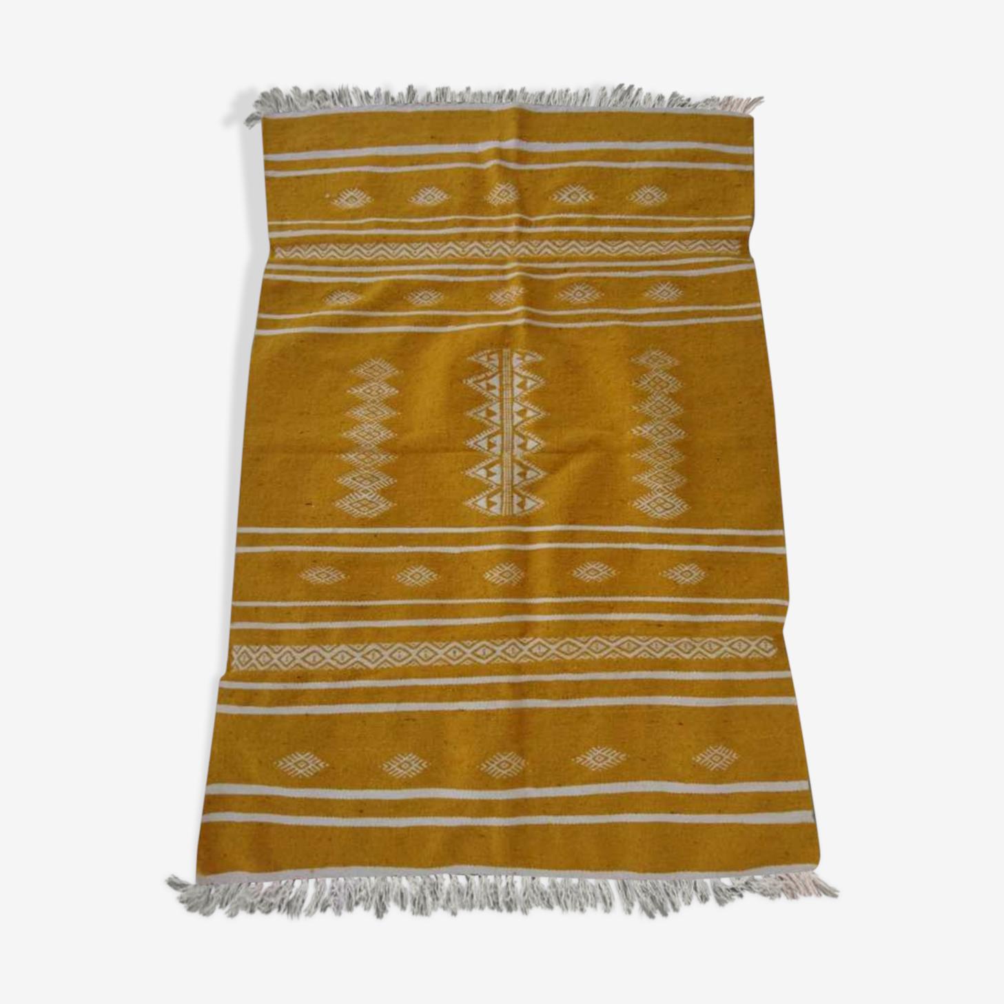 Yellow and white kilim rugs 100x140cm