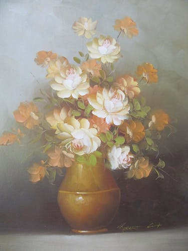 Oil on canvas framed - bouquet of flowers