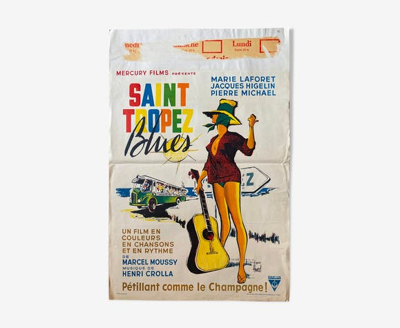 """Affiche cinéma """"Saint-Tropez Blues"""" Marie Laforet Jacques Higelin 37x56cm 1961"""