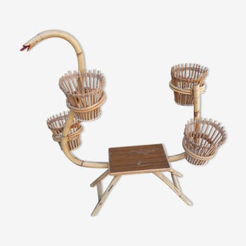 Vintage rattan plants holder