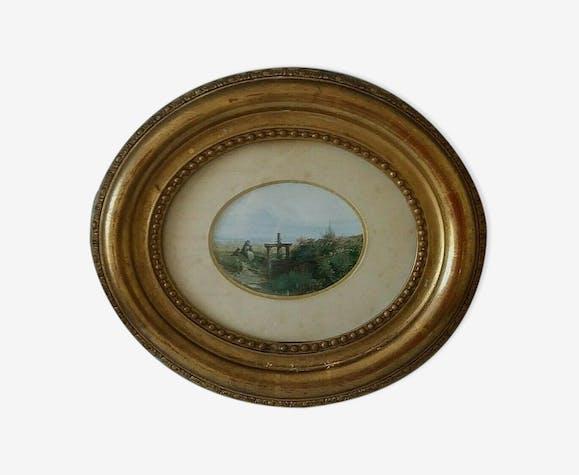 Gouache cadre ovale bois stuqué doré à la feuille XIXème