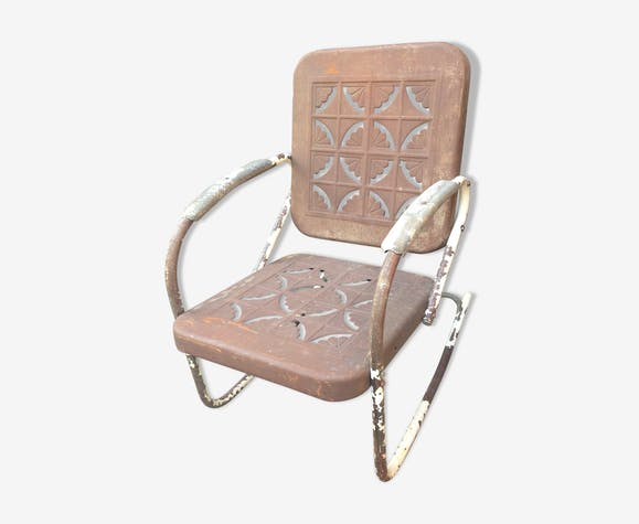 Rocking-Chair Américain 1950 - métal - marron - vintage - FxdNirG
