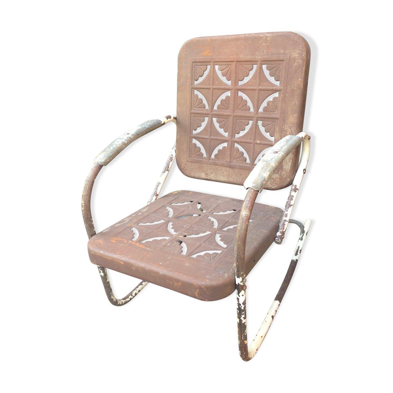 Rocking-Chair Américain 1950 - métal - marron - vintage - FxdNirG
