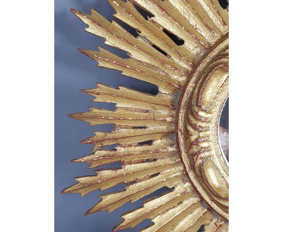 Sun mirror gilded with gold leaf Vintage 50s 42cm
