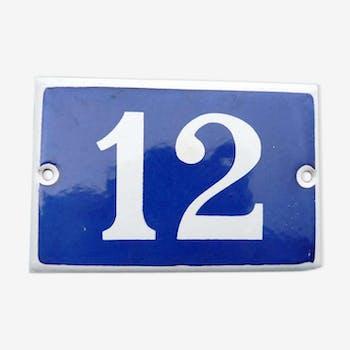 Ancienne plaque émaillée bleue numéro de maison