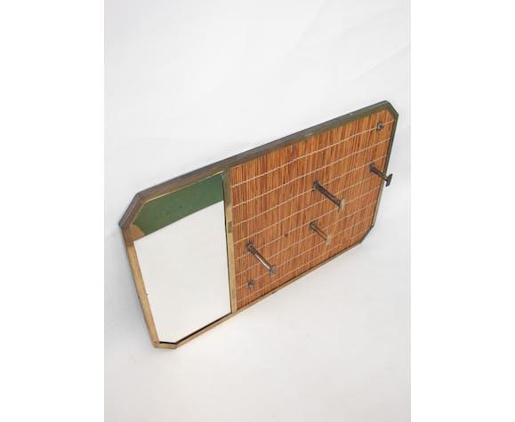 Porte-manteau vintage osier avec miroir et patères laiton