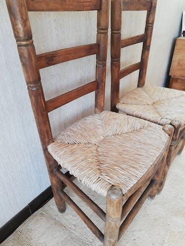 Paire de chaises paillage vintage anciennes