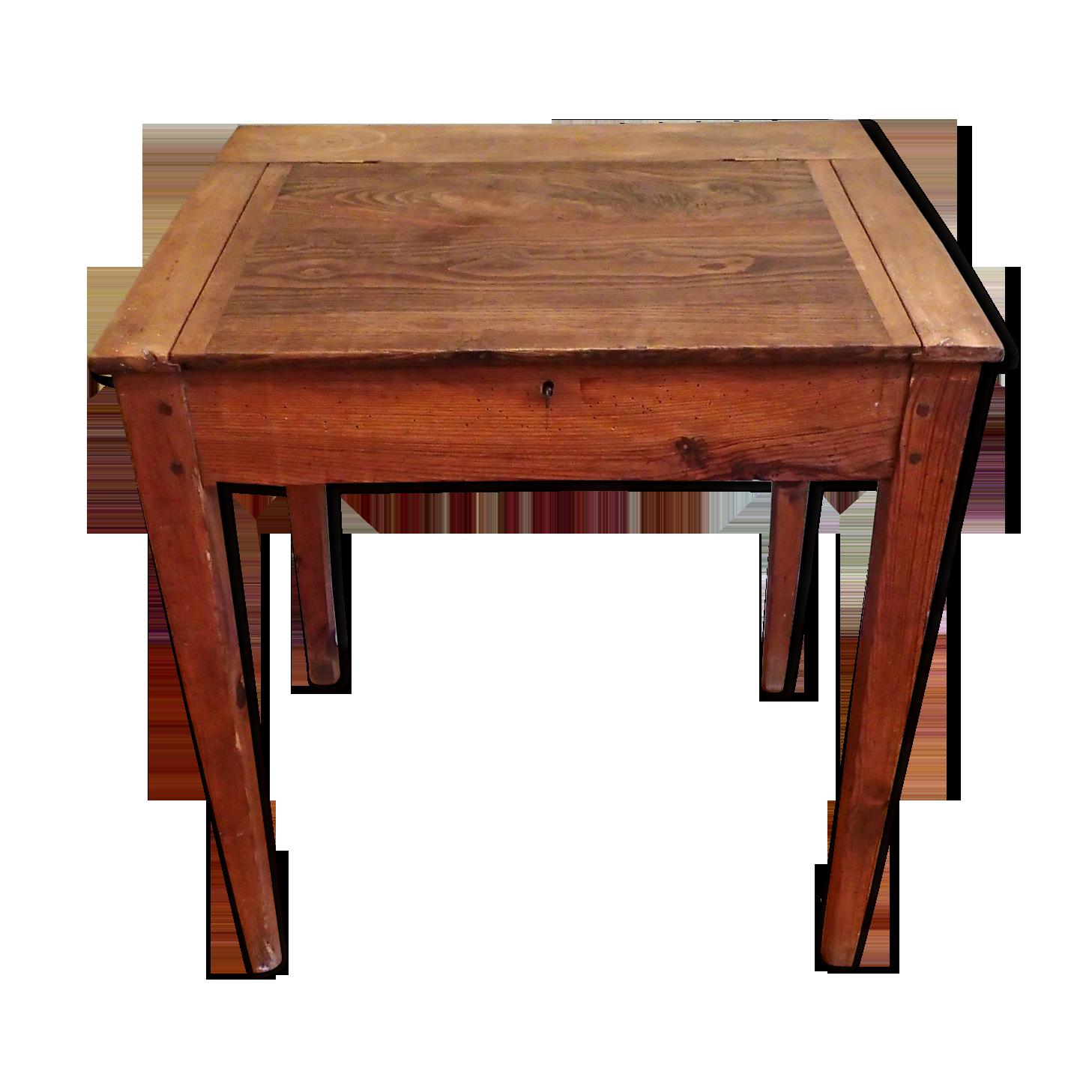 Bureau d école en bois ancien avec abattant bois matériau