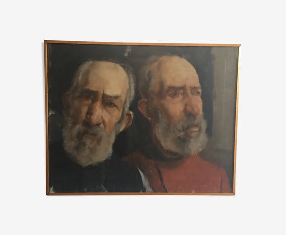 Huile sur toile portrait de deux hommes circa 1960