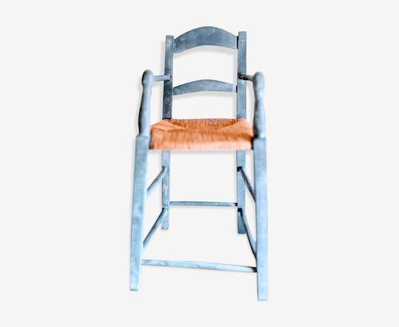 Chaise Haute Avec Accoudoirs Bois Materiau Bleu Vintage
