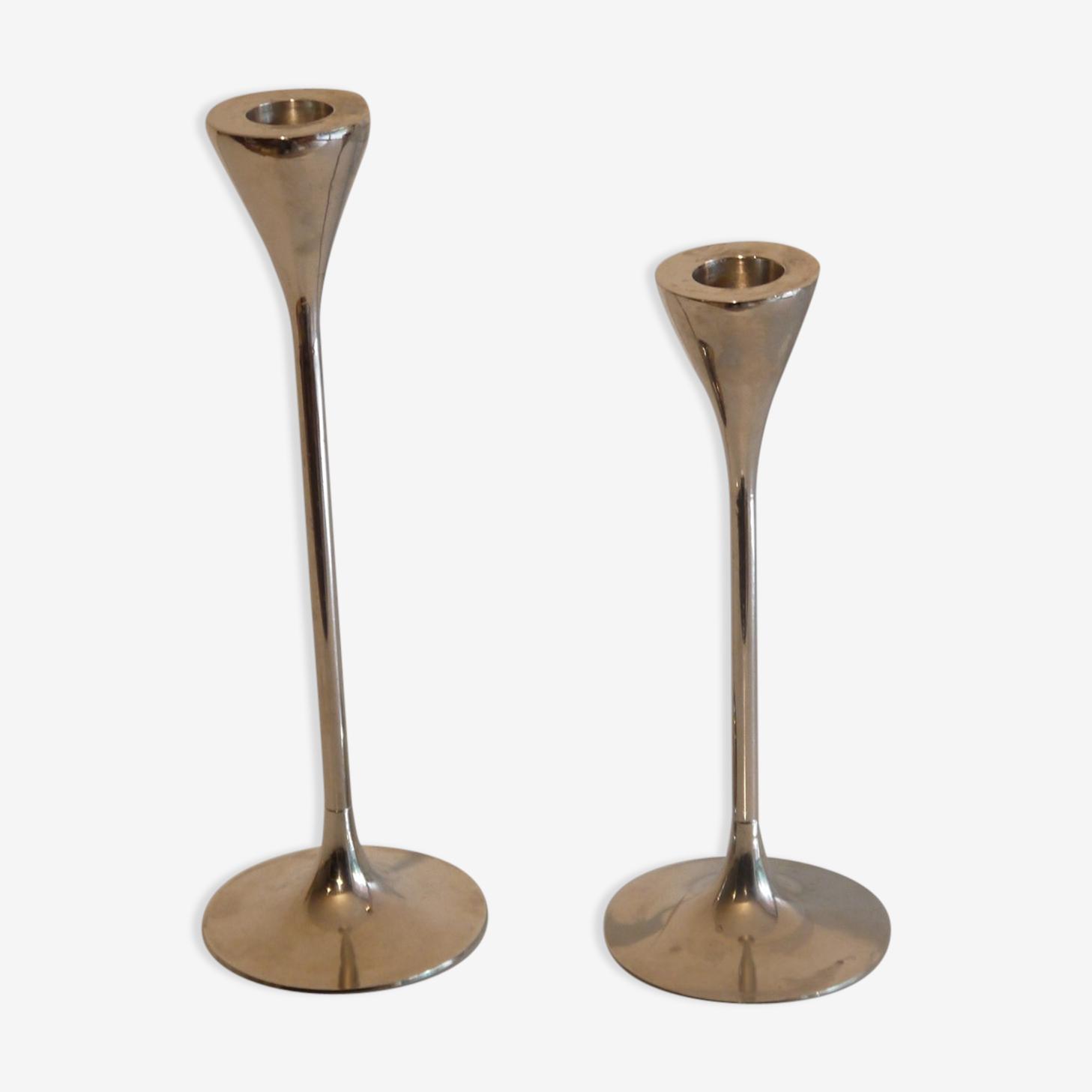 Pair of scandinavian metal candle holders 1970