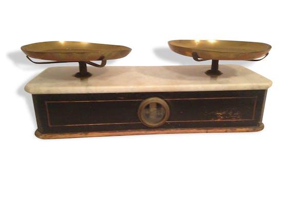 balance ancienne bois plateau marbre laiton commer ant vintage rare marbre multicolore. Black Bedroom Furniture Sets. Home Design Ideas
