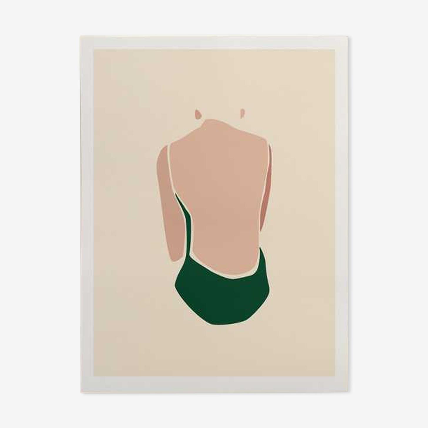 Illustration - baigneuse verte A3