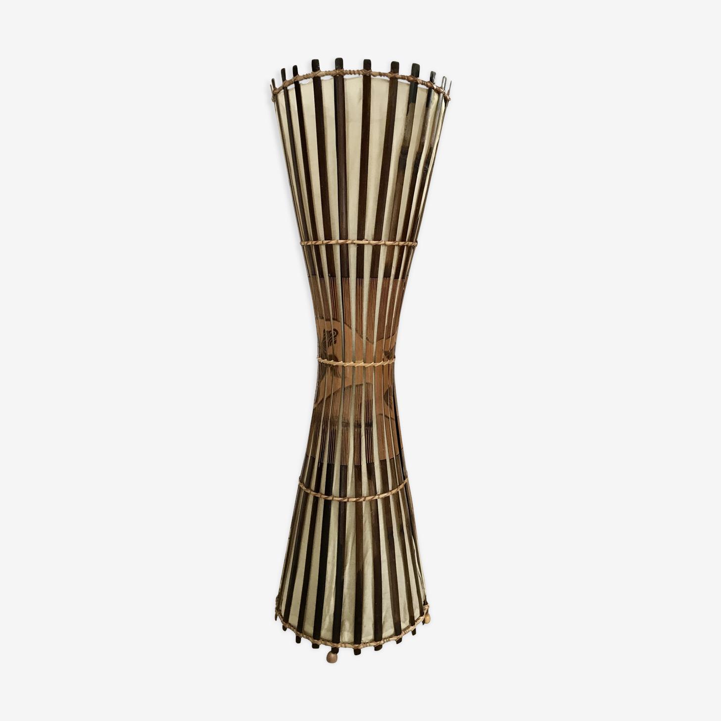 Lampadaire vintage bambou et rotin