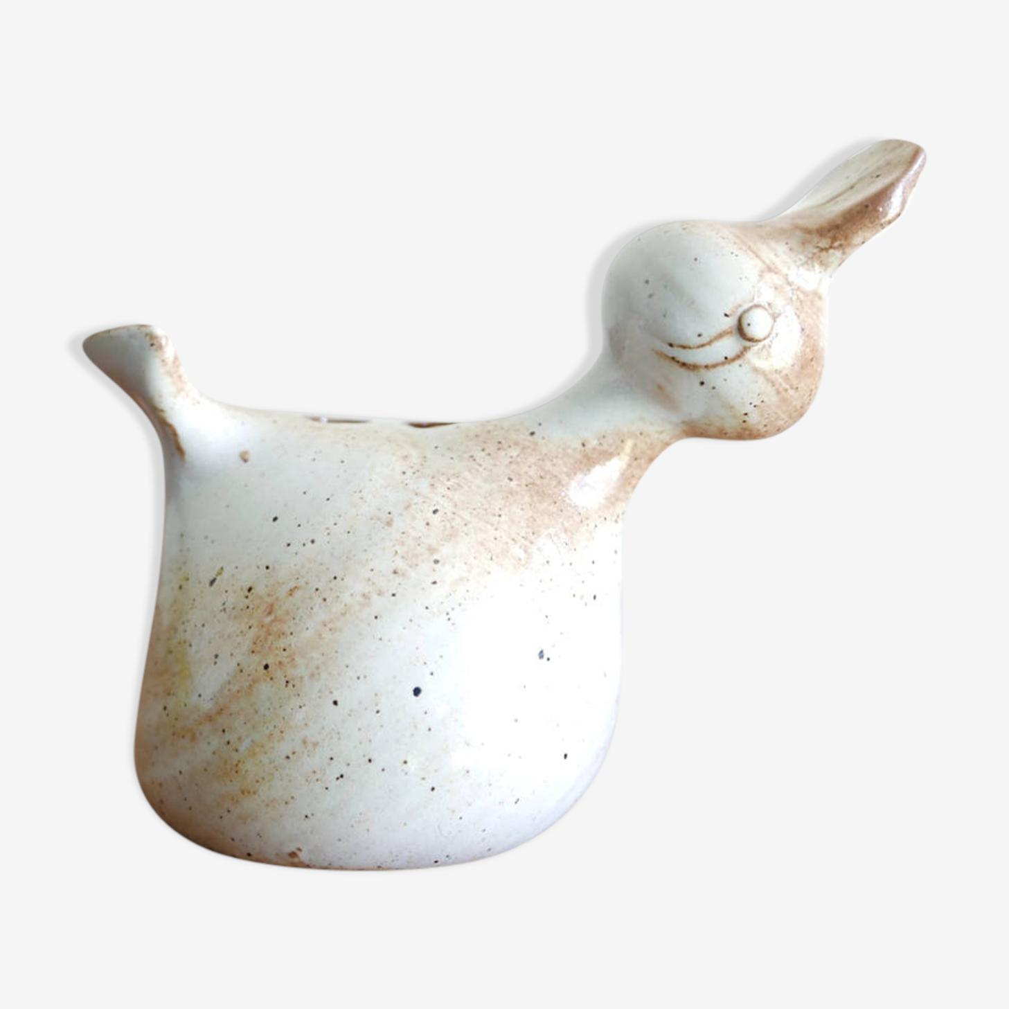 Pique fleurs oiseau en grès de la poterie du Marais, années 50