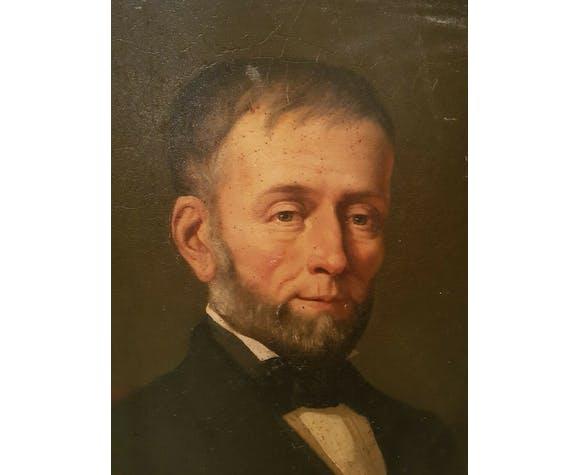 Portrait d'homme ancien, huile sur toile, cadre doré époque XIX ème