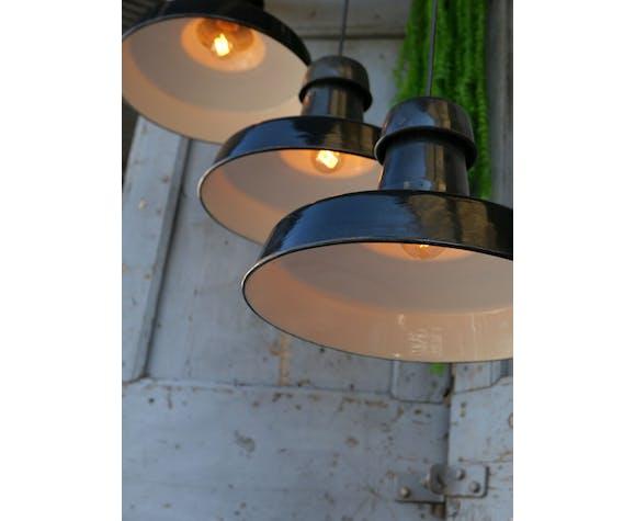Suspension émaillée noir lampe industrielle