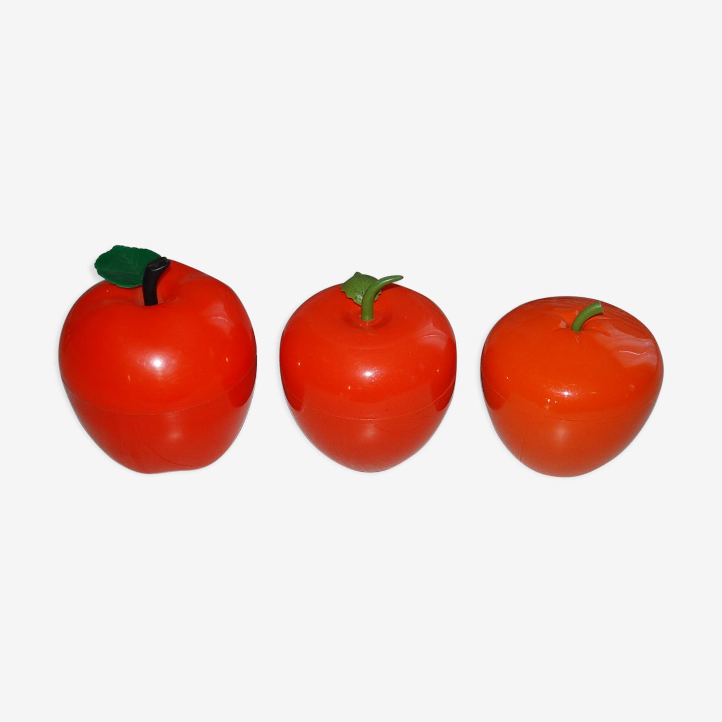 Ensemble de 3 pommes à glaçons orange des années 70
