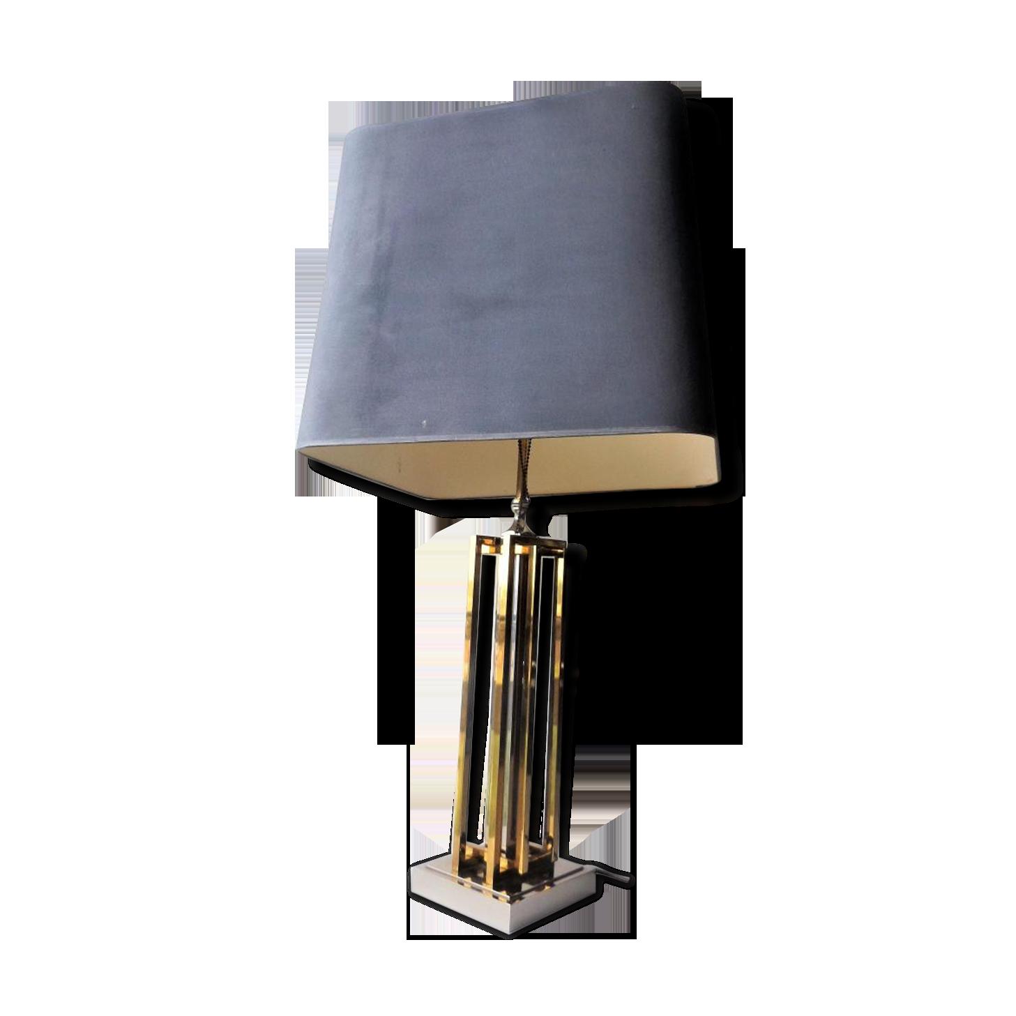 Lampe de bureau en laiton et chrome s laiton doré