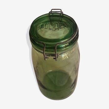 Grand bocal solidex verre vert 1l 1/2 déco cuisine