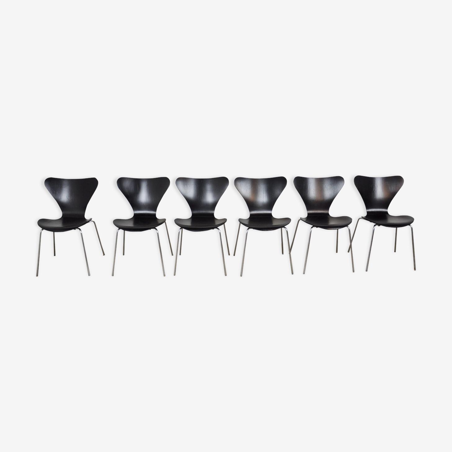 Chaises 3107 de Arne Jacobsen pour Fritz Hansen 1971