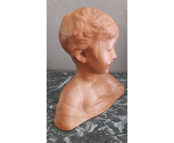 Buste d'enfant en terre cuite années 50