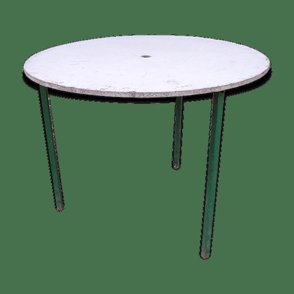 Table de jardin ronde à piètement métal tripode et plateau amovible en  aggloméré - métal - vert - dans son jus - vintage - OHD9kmU