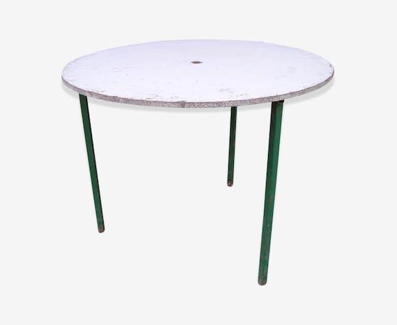 Table de jardin ronde à piètement métal tripode et plateau amovible ...