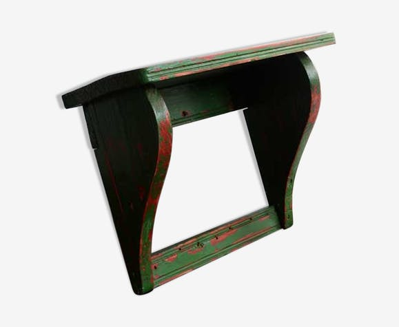 Vintage green wooden shelf