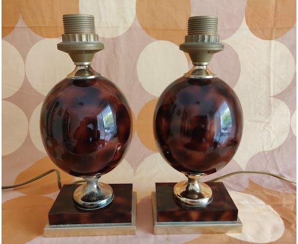 Lampes modernistes style Barbier en céramique 1970
