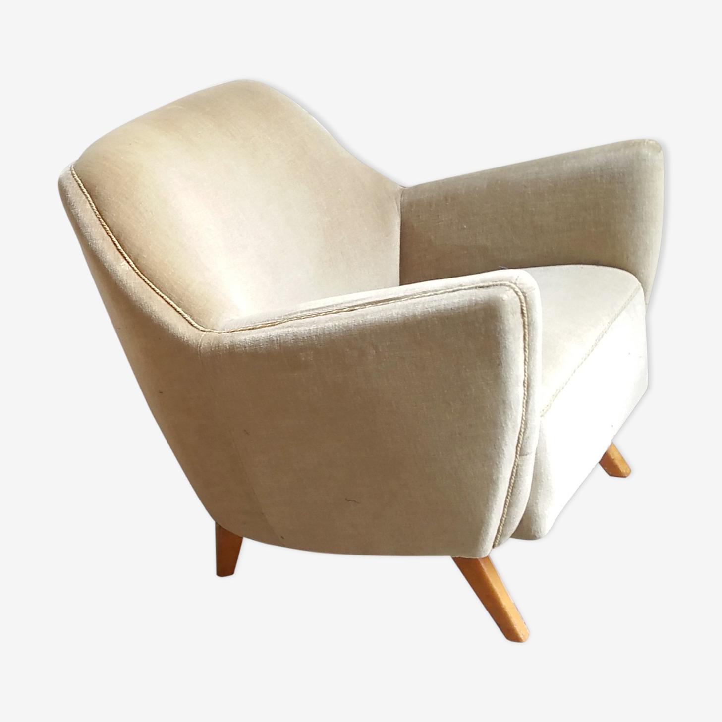 Fauteuil club danois années 50 60 vintage beige tissu beige