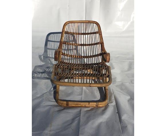 Chaise longue en rotin 1960