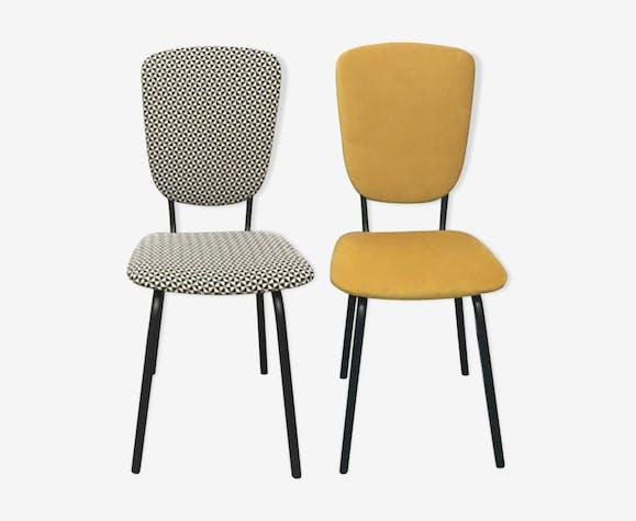 Paires de chaises années 60 retapissées