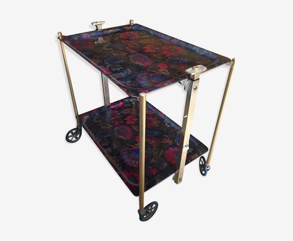 Table Roulante Pliante Textable Annees 60 Metal Dore Vintage