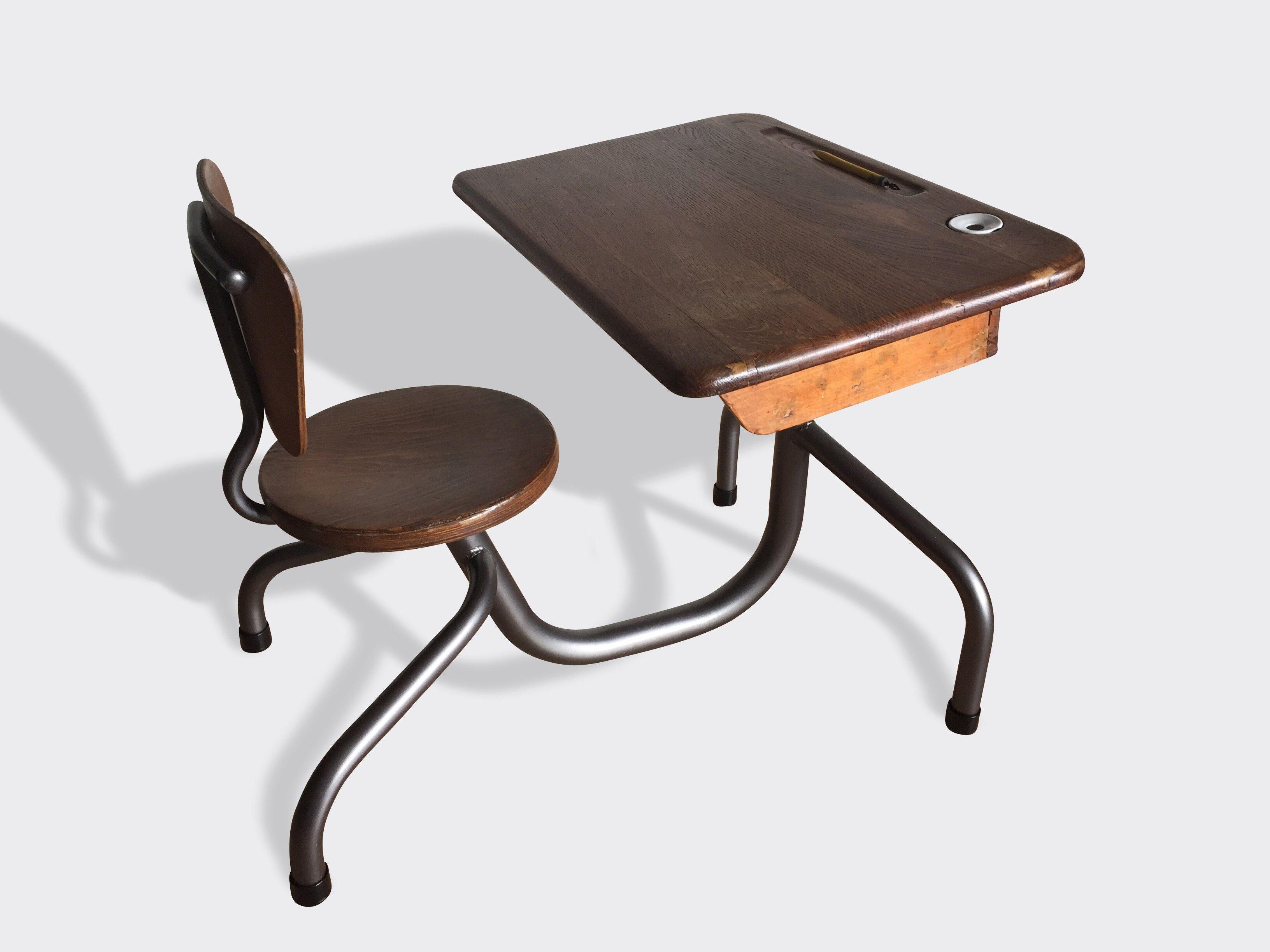 Pupitre/Bureau D'Écolier Vintage Jean Prouvé - Bois (Matériau