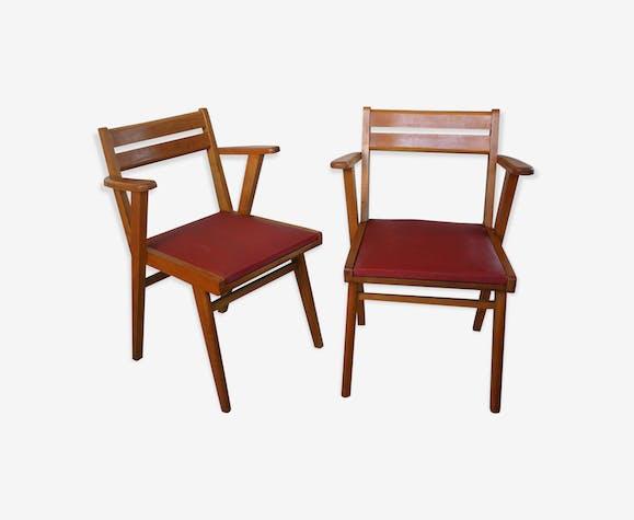 Paire de chaises de bureau bois et skai bois matériau rouge