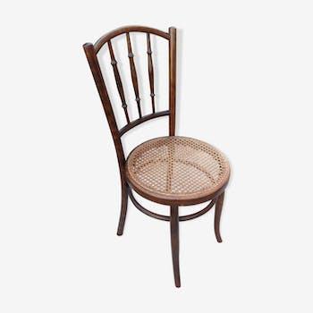 Chaise bistrot Fischel avec assise cannée vintage années 20/40